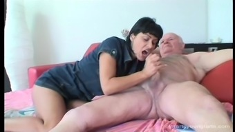 Receding grand father gets his cock ridden by an adventurous young adult