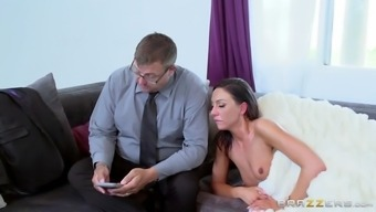 tiffany brookes almost caught by her nerdy hubby while hosting intercourse
