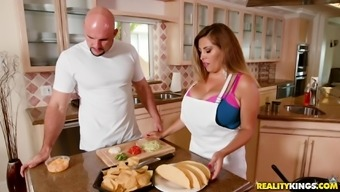 Big tits babe Alessandra Miller fucked complicated within a kitchen using a attractive mankind