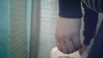 White gets pregnant female in the public restroom filmed on concealed cam