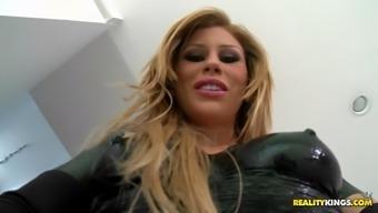 brooklyn lee wear outstanding latex wardrobe rubbing her clit