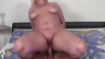 Excess weight mature female and her step-son