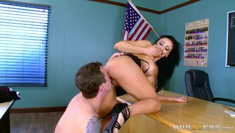 Superb large fake tits within this hooker fucking in a college