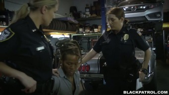 Immodest and perverted police fuck generous mechanic in threesome