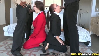 Attractive business ladies are touching very difficult greater cocks at the company meeting up with