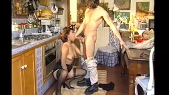 Married female slash in the kitchen during dinner a pal