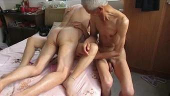 Asian Grandpa Trio by using age girl