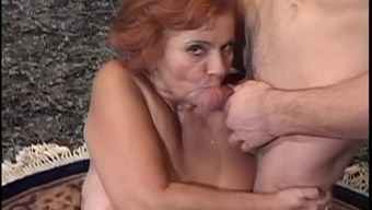 Furry Redheaded Plus-size woman Titted Granny Mathilda