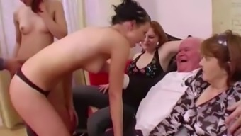 Youthful little girls party for grandpa before suck his penis