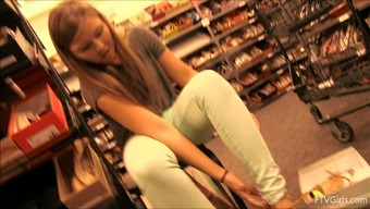 Shoe shopping with a charming teenager that often flashes people