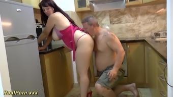 Intense big organic mammary big beautiful woman MILF loves throat gagging and generates a great footjob