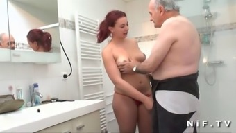 Little french language brunette exploded before giving blowjob to really Papy