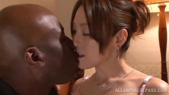 Japanese hussy gets her pussy laid a hand and torn by the exemplary stud