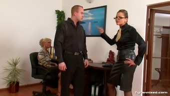 Female in blouses try using a male substitute