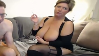 Rotund blonde age gives me head and rubs her slot