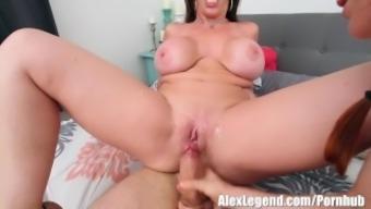 Newest Threesome! Big tits MILF Sara Jay Fucks Her Airbnb Tourists!