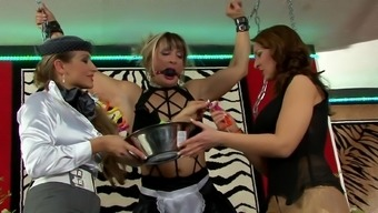 Femdom lesbian threesome along with chained blonde
