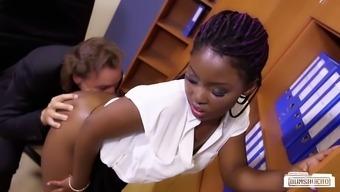 Soiled old boss plows his little ebony secretary