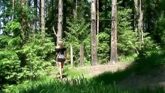 Sizzling teenager pissing in the mountains
