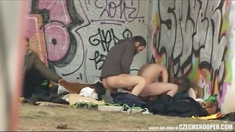Real Real world Daily living Destitute Threesome Making love on Masses