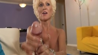 Sluty Mature Female Jerks Off A Younger Guy