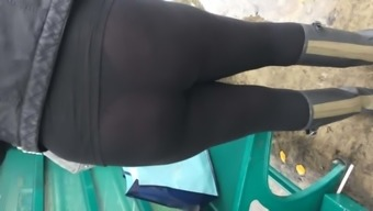 Pawg wearing lucent leggings at train refrain from 1(one)