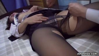 Co-worker fucks pretty hot Asian babe Rika Namikawa after a corporate party