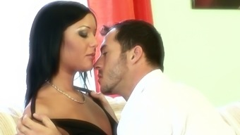 Tattooed guy satisfied Angelica Heart by drilling her tiny cunt