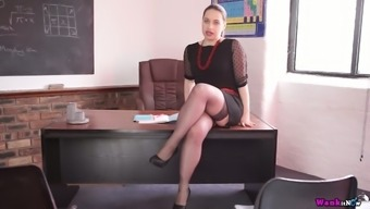 Curvy body Olga is striping and masturbating on the business owners tables