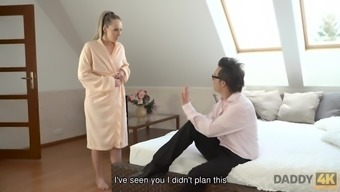 Naughty dad successfully seduces naive girl to have quickie