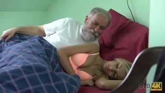 Beauty takes part in passionate sex with handsome old dad