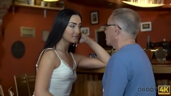 Angry guy catches old dad fucking his good-looking girl