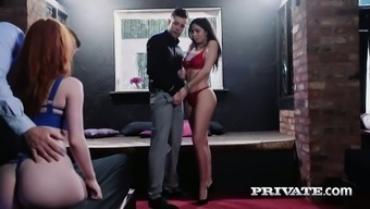 Succulent missy Julia de Lucia is riding a penis in the presence of two women