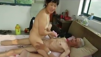 Asian Grand father Trio with age girl