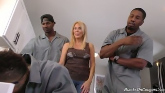 Filthy like snow exciting cougar Erica Lauren gets gangbanged challenging