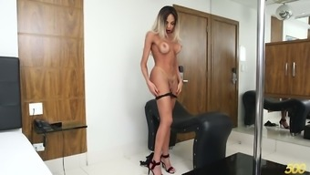 Appealing shemale with the use of fabulous plunder wanks and blows solid cock