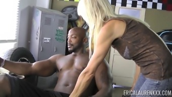 Erica Lauren gets naked to produce a beige man and grabs his wiener