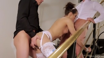 Gorgeous Ferrara Gomez interests to play along with two different major cocks at the same time