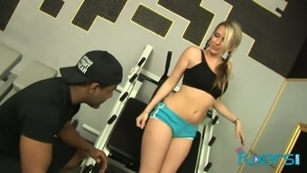 Exercise light chicken Cindy Starfall holder with her dark colored physical training coach