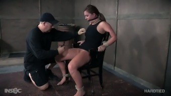 Hogtied submissive slut Maddy Oreilly gets her nipples fastened very difficult
