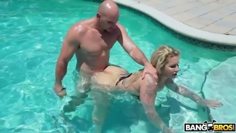 Darn perfect major breasted girl Ryan Conner gets fucked greyhound dog inside the pool