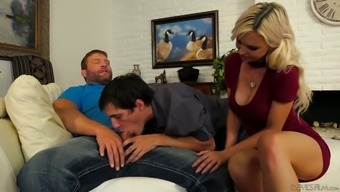 Slutty blonde Astrid Star is teaching her bisexual fellow how to blow a dick