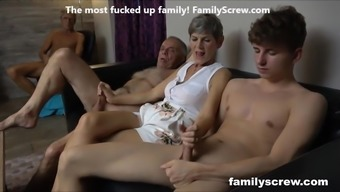 Skinny slut fucking the family