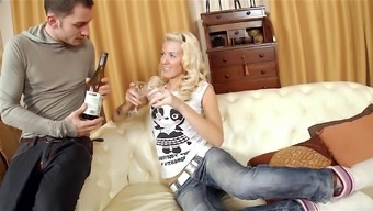 Blonde Russian slut Evelina rides a hard dick after a night out