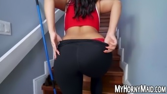 Latina maid with great natural tits banged after pov session