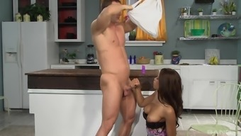 Interracial couple in a kitchen fuck session with Rihanna Rimes