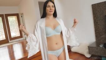 Buxom mature brunette Madeline tries out diferent underwear