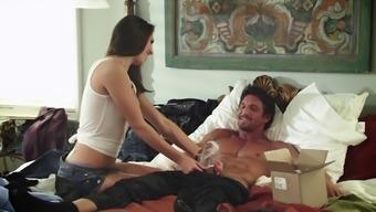 Pornstar couple gets wild in yogurt shot gun blowjob and camel toe hardcore pounding
